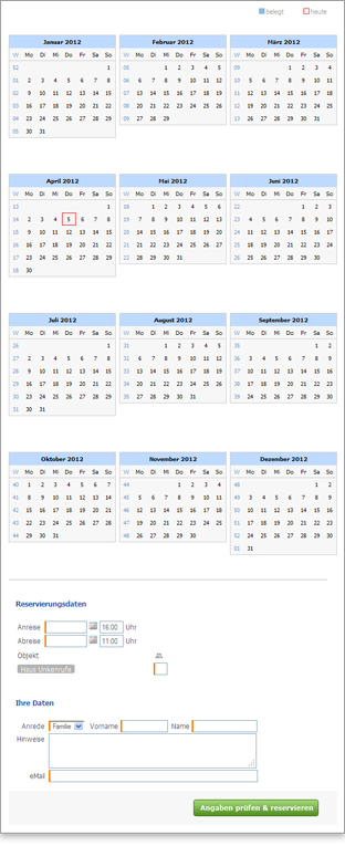 Reservation calendar for a single object in the 3, 4 or 12 months view