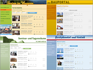 Portal systems for tourist organizations, holiday homes, cottages, holiday villages, rental firms